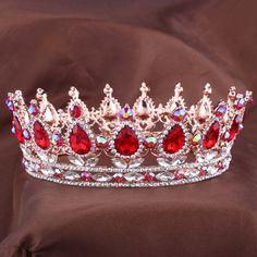 뜨거운 유럽 디자인 로얄 킹 퀸 크라운 라인 석 티아라 머리 보석 성인식 크라운 웨딩 신부 왕관 크라운 선발 대회