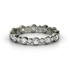 Platinum Ring with Diamond & White Sapphire | Heartbeat Band | Gemvara
