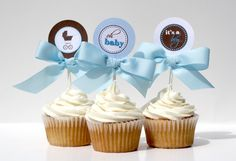 baby boy shower cupcakes | Baby Shower Cupcake Toppers - BOY OH BOY Printable by Confetti Prints ...