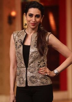 Karishma kapoor's jacket available at Kashmira Couture. Contact us at Kashmiracouture@gmail.com