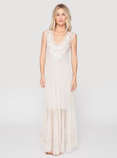 Johnny Was Biya Embroidered Mesh Kelsey Beaded Maxi Dress in Parchment / White #bohochic #newin #johnnywas