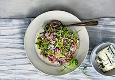risotto met rode ui, gorgonzola en rucola