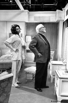 """Actor Charlie Chaplin directing actress Sophia Loren in a scene from the movie """"A Countess From Hong Kong"""""""
