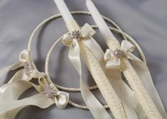 The Forever Wedding set of lambathes and stefana is created with textured wrap, double face satin ribbon and rhinestone jewel. A discount is applied to our wedding sets in comparison to the individualized products. Greek Wedding, Wedding Sets, Diy Wedding, Wedding Crowns, Wedding Church, Wedding Decor, Wedding Unity Candles, Wedding Centerpieces, Long Candles