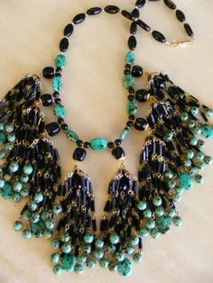 Huge Vtg Signed Miriam Haskell Tassel Waterfall Necklace Turquoise Black Glass   eBay