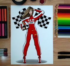 Rita (Made for a friend, not up for sale) ♥ #fashionillustration #illustration #drawing #fashiondrawing #sketch #lineart #croqui #pilot #fashionblogger #pencildrawing #b&w #fashion #art #artwork #wip #inprogress #f1 #ferrari