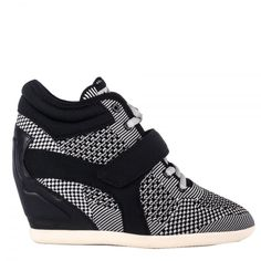 Ash Bebop wedge trainers feature a multi patterned knit upper, with a black  neoprene Velcro strap across the front. A soft leather panel covers the ...