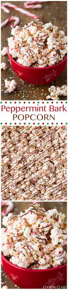 Peppermint Bark Popcorn - this is ADDICTIVE! It's even better than the real thing! Popcorn is coated with peppermint flavored white chocolate then it's drizzled with semi sweet chocolate and sprinkled with crushed candy canes.
