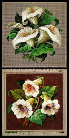 Fabulous Berlin Woolwork Patterns Victorian Flowers Borders | eBay