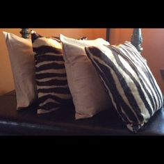 Set of 4 brown/cream zebra 17x17 pillow covers Set of four cream suede and brown striped faux fur zebra through pillow covers 17 x 17. Great for any room of the house. Brand new. I have several if you need more of either one let me know. Posh Spaces Other