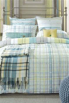 Love this....I can see it in our Nautical/Beach themed guest room. :)  Promenade Check Bed Set