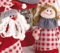 Originales figuras angelita y papa noel decorativas en fieltro para regalar estas #Navidades