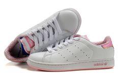 buy online 15848 0d8f3 N87A9 Adidas Stan Smith Chaussures Blanc Rose Pas Cher En Ligne
