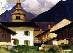 Church Of Les Houches, Haute-savoie, France Artwork By Clarence Gagnon Oil Painting & Art Prints On Canvas For Sale Canadian Painters, Canadian Art, Clarence Gagnon, Building Painting, Cityscape Art, Of Montreal, Indigenous Art, Art Prints For Sale, France