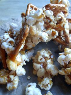 Caramel Popcorn Pretzel Snacks
