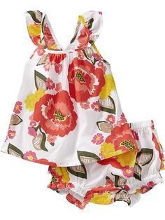 Floral Tank & Bloomer Sets for Baby Product Image---Lily seriously NEEDS this! The bow and ruffles on the back are beyond adorable!!!