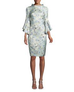 Badgley Mischka Collection High-Neck Trumpet-Sleeve Brocade Sheath Dress   Neiman Marcus NOW $247.00
