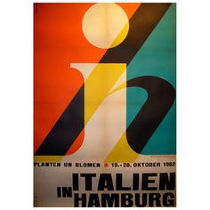 Original 1960s Poster Italien in Hamburg by Ruffolo  Italy  1962  Sergio Ruffolo (1916-1989) was one of the greatest pioneers and artists of Italian Modernist graphic design