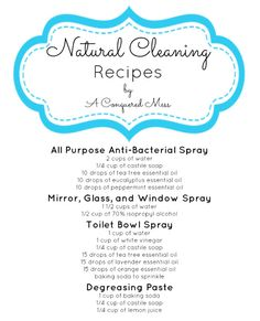 A Conquered Mess: DIY Natural Cleaning Products. Great natural recipes! #green #kitchen #bathroom