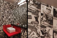 Handmade Wallcovering by Elizabeth Dow:  Boxer Series Collection: Girls! Girls! Girls! 95-30  BB's Kitchen, Aspen Colorado,  Designer Rowland + Broughton Architecture & Urban Design