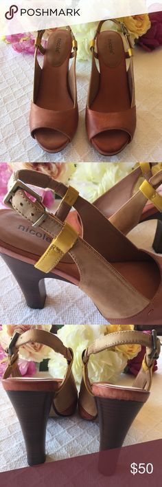 """nicole take it easy Shoes """"Valley Mandarin"""" leather upper, size 7 1/2, 4""""heel. Never worn nicole take it easy Shoes"""