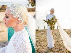 Modern Luxury Wedding Headpiece, wedding veil, and bridal bouquet. Kayla Illies Photography