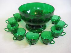 Green Anchor Hocking Glass Punch Bowl Set by TheEverlastingGarden, $70.00