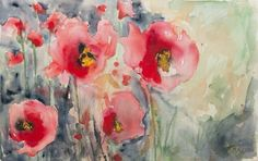 "Saatchi Online Artist: Karin Johannesson; Watercolor, 2012, Painting ""Wild Poppies"""