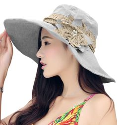 Women Ladies Elegant Anti-UV Sun Protection Large Brim Floppy Flower Foldable Summer Sun Hat Fisherman Hat Breathable Outdoor Beach Traveling Hiking Camping Shopping Dating Flat Bucket Hat Cap Topee -- Check out this great image  : Best Travel accessories for women