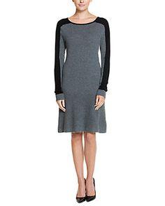 Cullen Fog & Black Colorblocked Cashmere Sweaterdress