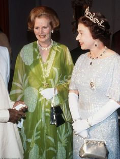 Queen Elizabeth with Margaret Thatcher in Lusaka, Zambia, for the Commonwealth conference in 1979