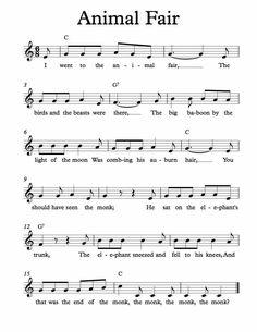 Free Sheet Music for Animal Fair. Children's Song. Enjoy!