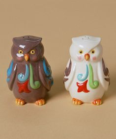 Take a look at this Black & White Owl Salt & Pepper Shakers by Jim Shore on #zulily today!