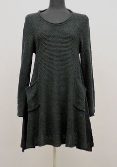 Knithouse by Maria Dalhoff Lagenlook Knitwear Asym Tunic Sweater Black $315 | eBay
