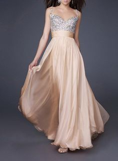 Beaded Spaghetti Strap Backless Empire Long Chiffon Evening Dresses Formal Gowns Light Yellow