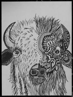 Endangered Species Day art contest 9-12 grade category semi-finalist: Kelsey Fosstveit, 12th Grade, Wood bison