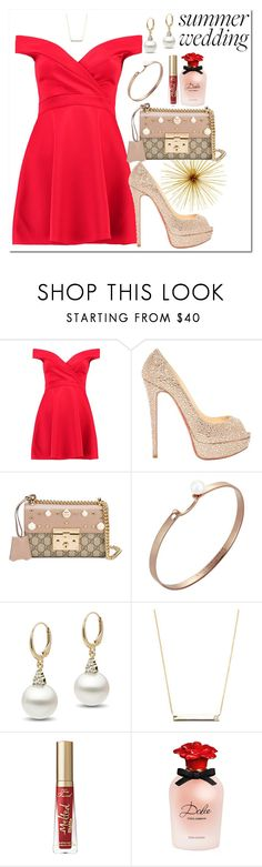 """Untitled #582"" by dreamer3108 ❤ liked on Polyvore featuring Boohoo, Christian Louboutin, Gucci, Nouvel Heritage, Casa Reale, Dolce&Gabbana, gold, summerwedding, redlips and reddress"