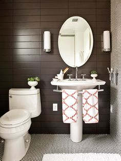 I like the towel rack built into this pedestal sink.