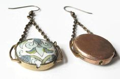 Pair upcycled wristwatch case earrings: Liberty of London antique floral print fabric