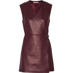 T by Alexander Wang Leather mini wrap dress (530 CAD) ❤ liked on Polyvore featuring dresses, burgundy, short dresses, short leather dress, mini dress, slimming dresses and t by alexander wang