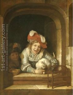 Adrieaen van der Werff, Two children playing with a cat holding a bird in its jaws