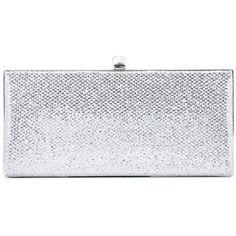 Jimmy Choo Celeste Glitter Clutch (2.450 BRL) ❤ liked on Polyvore featuring bags, handbags, clutches, bolsas, purses, silver, hand bags, man bag, silver glitter handbag and handbag purse