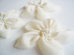 Cream Chiffon with Stripe Flowers Handmade by BizimSupplies, $12.00