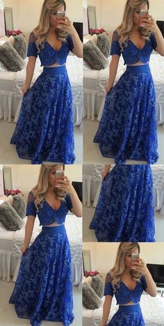 Unique Prom Dresses, Blue Long A-line V-Neck Lace Two Pieces Prom Dresses, There are long prom gowns and knee-length 2020 prom dresses in this collection that create an elegant and glamorous look Sequin Prom Dresses, Unique Prom Dresses, Long Prom Gowns, Prom Dresses 2017, Popular Dresses, Make Your Own Dress, Ball Gowns, Evening Dresses, People