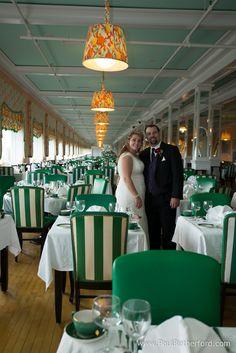 Grand Hotel Main dining room wedding photo with Amanda and James on Mackinac Island Michigan by Paul Retherford #Wedding #MackinacIsland #NorthernMichiganWedding