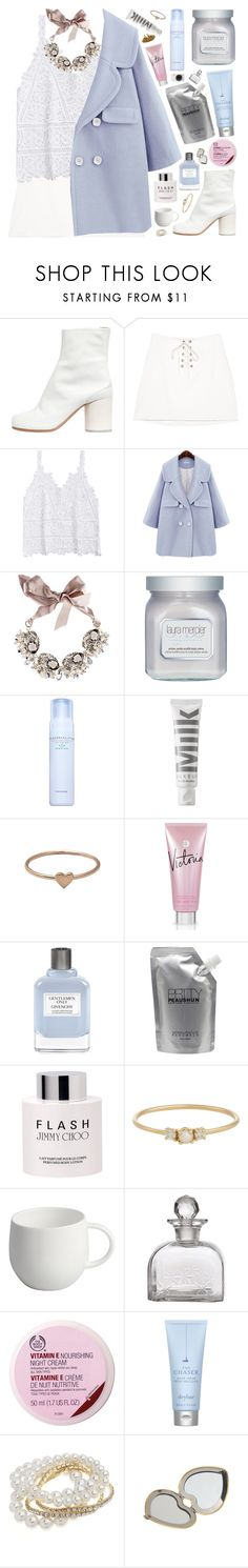 """me and God"" by my-pink-wings ❤ liked on Polyvore featuring Maison Margiela, Gabriele Frantzen, Laura Mercier, Face Gym, MILK MAKEUP, Catbird, Victoria's Secret, Givenchy, Prtty Peaushun and Jimmy Choo"