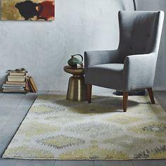 Blur Ikat Rug - Citron #westelm.  Another rug option for bathroom. Size 3x5