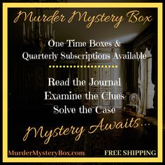 Free shipping. Put your detective skills to the test.  #mystery #murdermystery #murdermysterybox #mysterybox #murderbox #killerbox #subscription #murdermysterysubscription #subscriptionbox #investigate #adventure #subscribe #detective #clue #evidence #interactive #solve #case #crime #truecrime #cozymystery #journal #freeshipping #murdermysteryinabox #gift #giftideas #adventures #reading #books Cozy Mysteries, Mystery Box, Reading Books, True Crime, Happenings, Investigations, Detective, Journal, Shit Happens