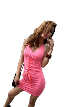 Krazy Sexy Club Cocktail Party Evening Dress #241 Pink