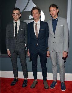 Los chicos del Grupo Fun: Jack Antonoff, Nate Ruess y Andrew Dost en los Grammys
